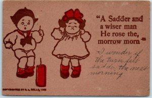 Vintage Comic Postcard Boy Girl Firecracker Sadder & Wiser Man R.L. Wells 1907