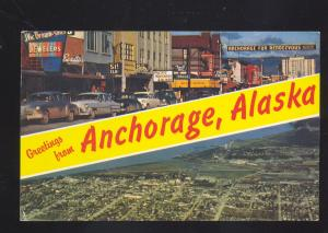 ANCHORAGE ALASKA DOWNTOWN STREET SCENE 1950's CARS AERIAL VIEW POSTCARD