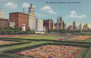 Illinois Chicago Skyline From Grant Park 1943 Curteich