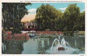 North Carolina Wilmington Beautiful Scene At Greenfield Lake and Park Curteich