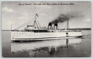 Straits of Mackinac~Michigan State Ferry~City of Petoskey~1941 CT Photo-Cote~B&W