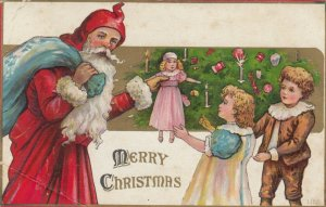 CHRISTMAS, 1908 ; Santa Claus hands doll to girl