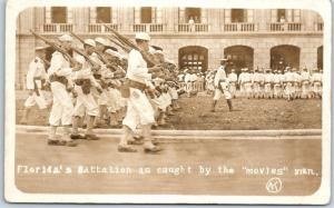 Vintage RPPC Photo Postcard Florida's Battalion as Caught by the 'Movies' Man