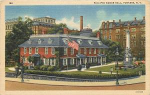 Yonkers New York~Philipse Manor Hall~Civil War Soldiers Monument~1937 Linen PC