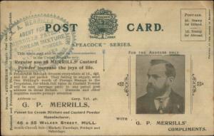 GP Merrill Ice Cream Mixture Sheffield UK Overprint Bridlington View Postcard