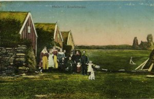 iceland, MALARRIF, Snæfellsnesi, Houses with People (1910s) Postcard