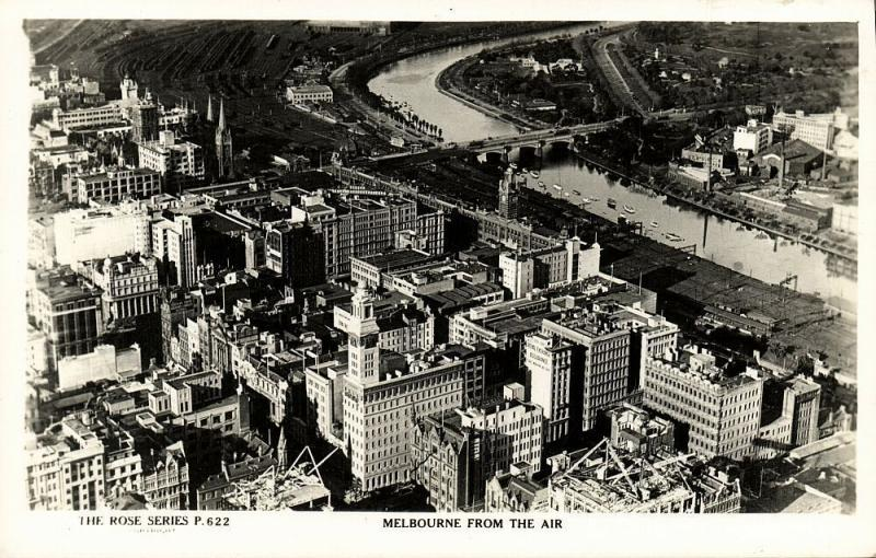 australia, MELBOURNE, Vic., Aerial View (1950s) The Rose Series RPPC