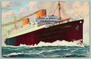 Norddeutscher LLoyd Bremen Line~Steamship Columbus~Artist Drawn~1939 Postcard