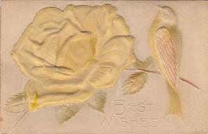 Yellow silk rose & bird , PU-1912