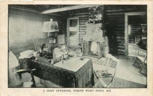 North West Pond, Maine, ME, A Cozy Interior, Vintage Postcard Old PC b3407