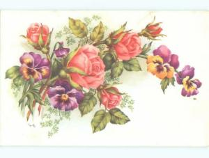 Very Old Foreign Postcard BEAUTIFUL FLOWERS SCENE AA4214
