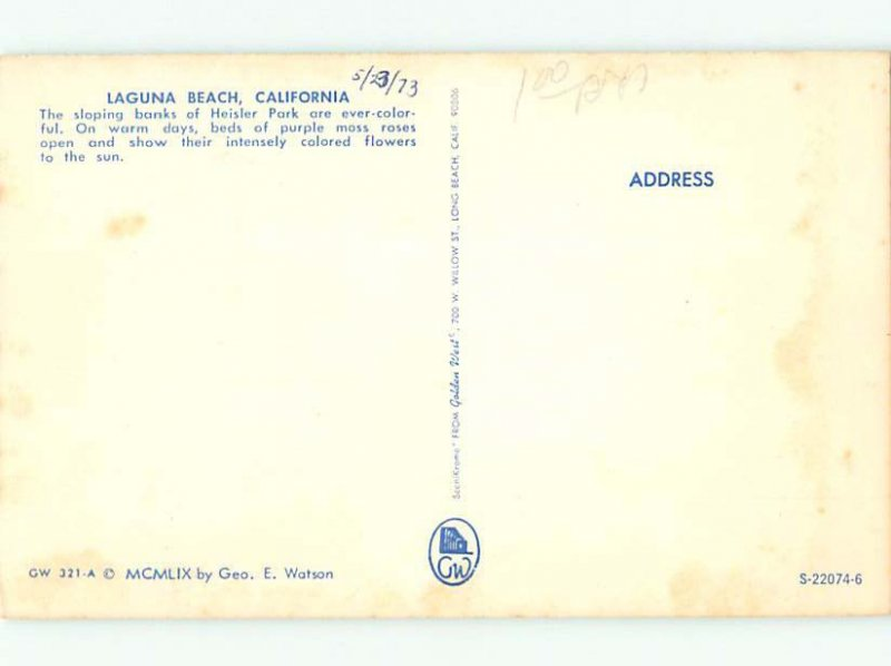 Pre-1980 PARK Laguna Beach - Near Newport & Anaheim & Huntington CA AF7278