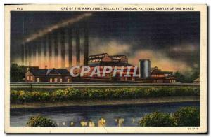 Postcard Old One Of The Many Steel Mills Pittsburgh Pa Steel Center Of The Wo...