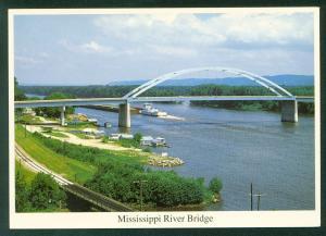 Mississippi River Bridge Prairie du Chien Wisconsin Marquette Iowa IA  Postcard