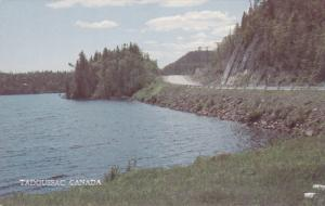 Lake and Highway in Tadoussac, Quebec, Canada, 40-60s