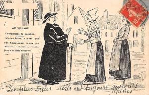 Fantasy Comic Humour Drawing: Au Village Changement de vocation... 1913