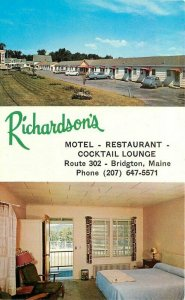 Bridgton Maine Richardson's Motel Restaurant Lounge Yankee Postcard 20-11792