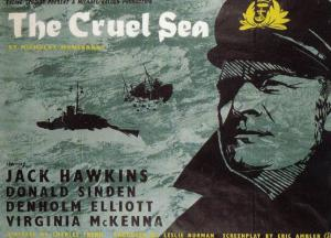 The Cruel Sea WW2 Movie Jack Hawkins Rare London Cinema Poster Art Postcard