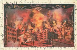 San Francisco CA Earthquake Disaster Building in Flames,1907 Postcard