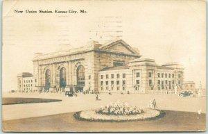 1915 KANSAS CITY, Missouri Real Photo RPPC Postcard New Union Station Depot