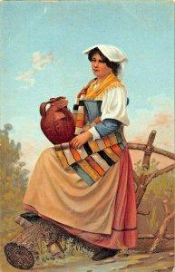ITALIAN WOMAN WITH WATER JUG.~ETHNIC COSTUME POSTCARD