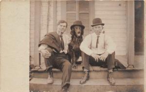 F27/ Animal RPPC Photo Postcard c1910 Dog Wearing Top Hat! 7