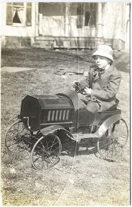 Gallupville NY Boy in Pedal Car Real Photo from Cracked Plate RPPC Postcard