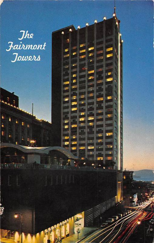 The Fairmont Towers, The New Fairmont, dusk illuminated, at night 1967