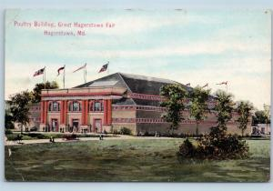 Postcard MD Hagerstown Poultry Building Great Hagerstown Washington Co Fair C02
