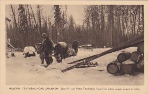 Missions D'Extreme Nord Canadien , Les Freres Coadjuteurs trainent les arbres...