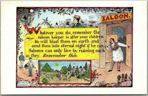 TEMPERANCE Postcard Artist T.O. HULBERT Saloon Keeper is After Your Children