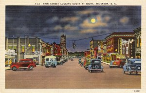 Linen c1930-45 USA Postcard, Main Street at Night, Anderson S.C Classic Cars 57Y