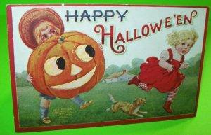 Vintage Halloween Postcard Puppy Dog Kids 1908 Original Embossed Alleghney PA