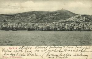 greece, SYROS SYRA SIROS, Panorama from the Sea, Steamers (1904) Kyriazopoulos
