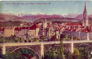 BERN SWITZERLAND VIEW OF CITY AND ALPS