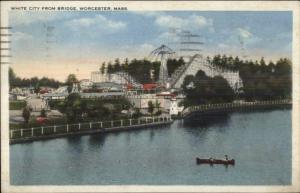 Worcester MA White City Roller Coaster c1920 Postcard