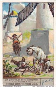 Liebig Vintage Trade Card S1334 Don Quixote II 1936 No 2 Les moulins a vent