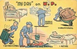 Comic Humor Military WW2 KP Duty Activities MWM linen 1940s Postcard 20-5579