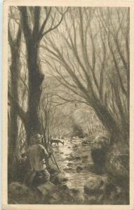 H. Barta Efhaus Gravure Postcard - Le braconnier The poachers Der Wilderer