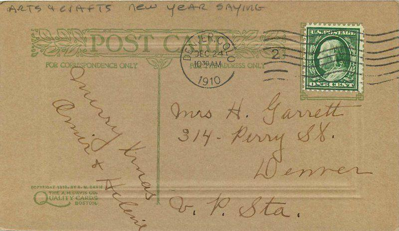 arts crafts 1910 new year saying artist impression postcard 6581