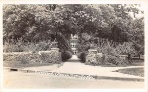 Plymouth Michigan~High School Entrance~Stone Wall Around Grounds~1950 RPPC