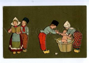 189584 ART DECO Rural Life Kids Family Bathing Vintage PC