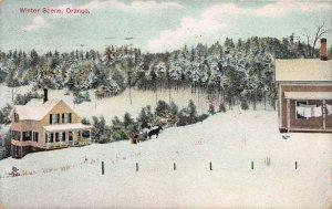 Winter Scene, Orange, Massachusetts, Early Postcard, Used in 1932