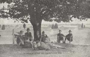 CAMP LEE, Virginia, 1910-20s; Recruits in A Shady Spot