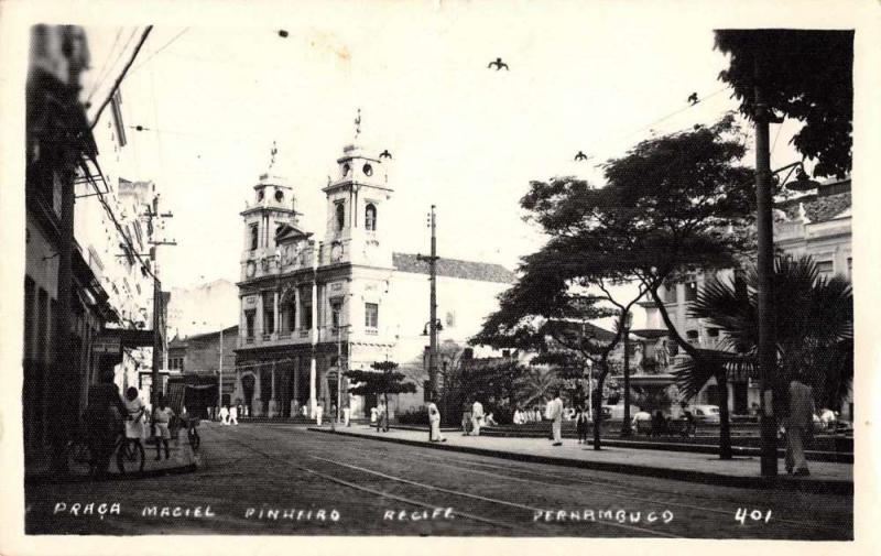 Recife Brazil Pernambuco Street Scene Church Real Photo Antique Postcard J67788