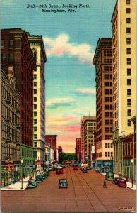 Vtg Lino Tarjeta Postal 1940s - Birmingham Al - 20th Calle Aspecto Norte Alabama