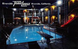 RIVERSIDE TRAVELODGE Swimming Pool California Roadside ca 1950s Vintage Postcard