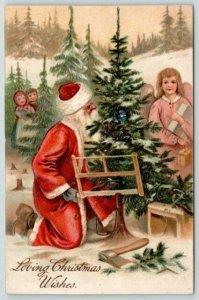 PFB Christmas~Long Robe Santa Saws Down Xmas Tree~Angel & Girls Watch~Emb~9693