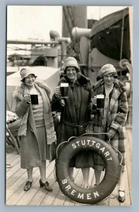 GERMAN BEER DRINKERS STUTTGART BREMEN SHIP ANTIQUE REAL PHOTO POSTCARD RPPC