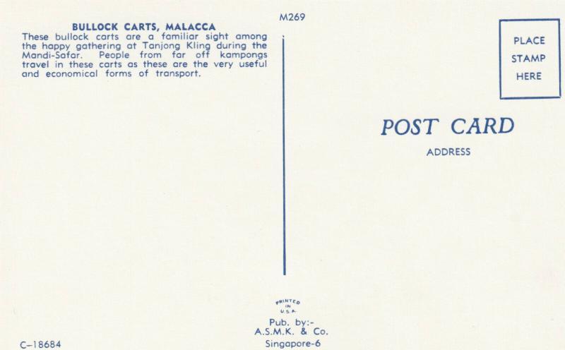 MALACCA , Malaysia , 50-60s ; Bullock Carts